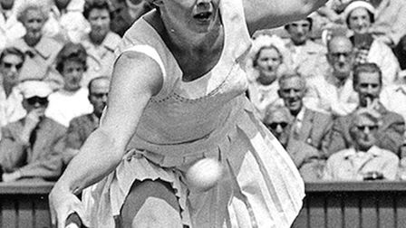 Christine Truman playing at Wimbledon in the 1950s.