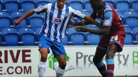 U's new signing Jermaine Grandison, right, in action for Tranmere against then-U's winger Ashley Vin