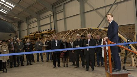 Ipswich MP Ben Gummer performs the official opening ceremony at a new boat building facility for Spi