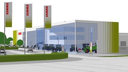 Artist's impression of the proposed new CLAAS UK headquarters at Saxham, Bury St Edmunds.