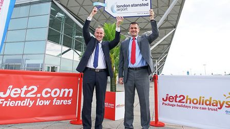 Andrew Cowan, chief executive of Stansted Airport, left, with and Steve Heapy, chief executive of Je
