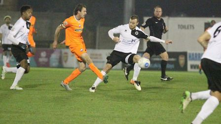 Jack Midson sets a Braintree attack in motion at Boreham Wood tonight. Photo: Alan Stuckey