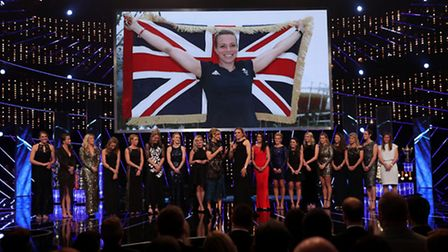 Kate Richardson-Walsh is interviewed by Gabby Logan alongside the Women's Team GB hockey team during