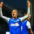 Luke Varney celebrates his goal in the 3-0 home win over QPR. Picture: www.stephenwaller.com