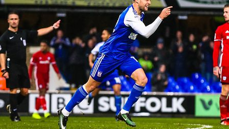 Luke Varney celebrates after levelling the score at 1-1 in the Ipswich Town v Cardiff City (Sky Bet