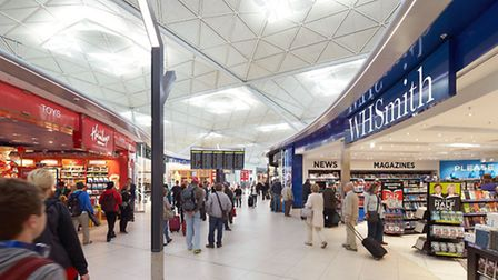 The departure lounge at Stansted Airport.