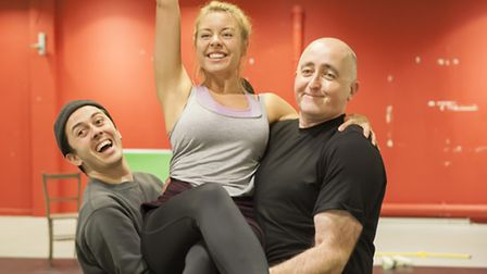 Michael Lapham, Louise Olley and Eamonn Fleming rehearsing Beauty and the Beast this year's panto at