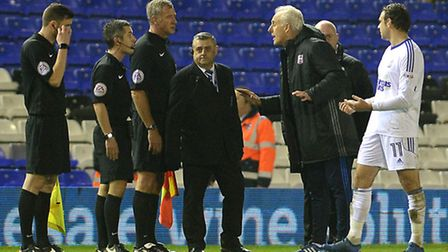 Mick McCarthy remonstrates with the referee after the final whistle at Birmingham