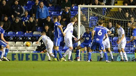 Luke Varney is adjudged to have handled in the box for Birmingham's penalty