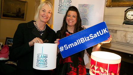 Small Business Minister Margot James, left, with Angela Berry, owner of The Lampshade Company, at th