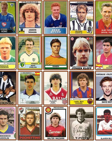 A Panini sticker montage of the current crop of Premier League managers in their playing days