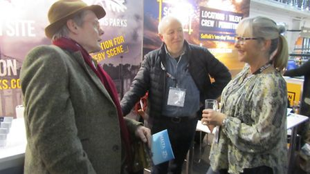 Bentwaters owner Sarah Brown (right) speaking with industry insiders at the Screen Suffolk launch in