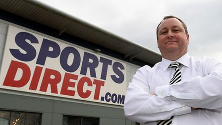 Sports Direct founder Mike Ashley outside the group's headquarters in Shirebrook, Derbyshire. Photo