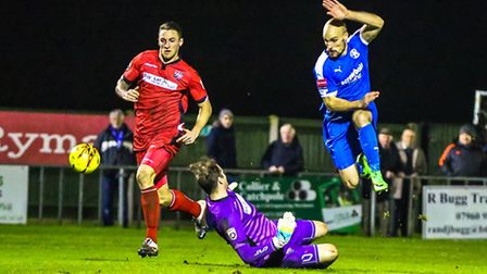 This effort from Matt Blake was saved by Bromley keeper Alan Julian in the second half of the Leisto