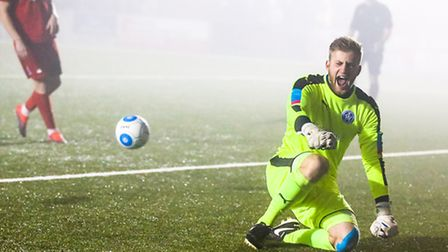 Jacob Marsden celebrates after making a save in the penalty shoot out at the end of the Eastbourne B