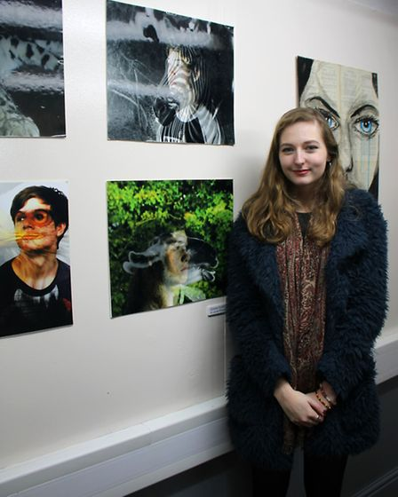Hartismere School art student Cathy at the exhibition. Picture: Ruth Stanley