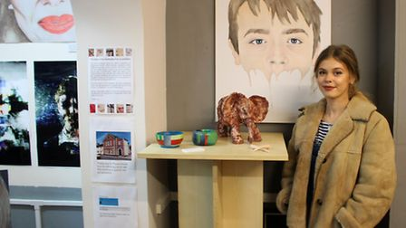 Hartismere School art student Libby wiuth her clay elephant. Picture: Ruth Stanley