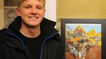Hartismere School art student Aidan with his Star Wars graphic art. Picture: Ruth Stanley