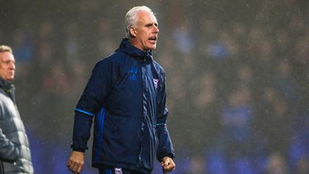Town manager Mick McCarthy shouts from the touchline during the Ipswich Town v Cardiff City match.