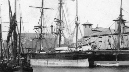 Ipswich wet dock in 1850, from the IMT Photographic Archive, including medieval buildings at Smart's