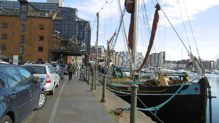 Thames sailing barge Victor at the quayside in Ipswich, with skipper `Wes' Westwood