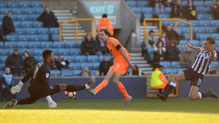 Jack Midson pulls a goal back for Braintree to make the score 3-2 at Millwall during this afternoon'