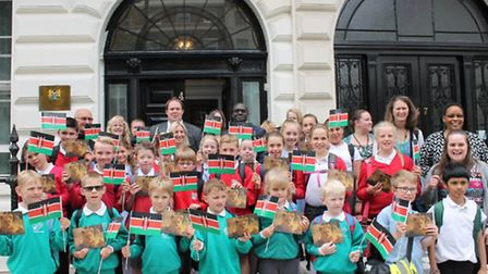 Children from three Suffolk primary schools outside the Kenyan High Commission in London