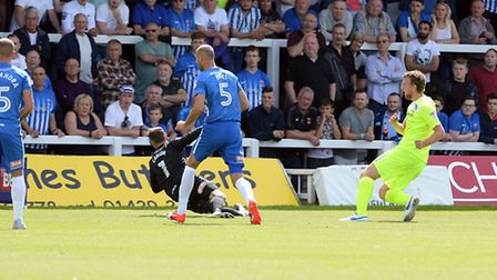 A flashback to Tom Eastman slotting home Colchester United's first goal of the season, in the openin