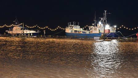 Storm surge flooding around the harbour in Southwold. Picture: James Bass Photography