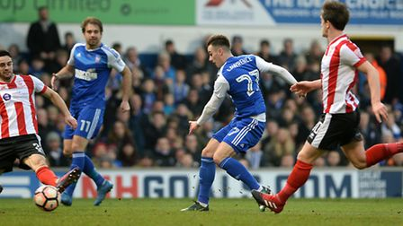 Tom Lawrence equalises for Ipswich during the first half against Lincoln City