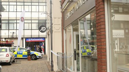 Damage at the Ernest Jones shop in Colchester after the raid. Photo: Archant