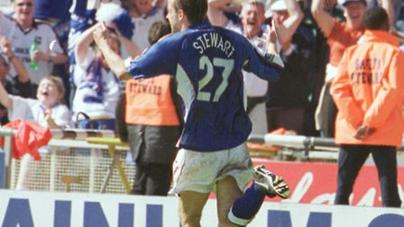 Marcus Stewart celebrates during Ipswich Town's play-off final win against Barnsley in 2000. Photo: