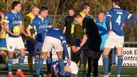 FA Trophy - AFC Sudbury v Macclesfield - Tempers flare during the matchPic- Richard Marsham/RMG Pho