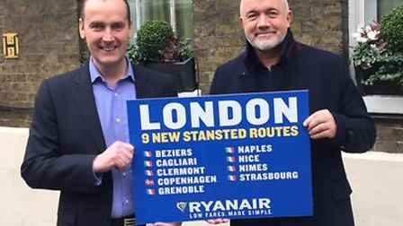 Andrew Cowan, chief executive at Stansted Airport, and David O'Brien, chief operating officer at Rya