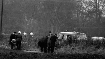 1967 picture of the scene of the Tattingstone suitcase murder of Bernard Oliver