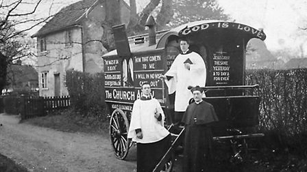 The Church Army caravan parked in Rectory Lane, Hintlesham, in about 1920. This Church of England pr