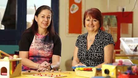 Debbie Corsby of Happy Days Childcare, left, with Katie Ryan of Lloyds Bank Commercial Banking.
