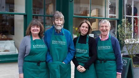 Claire Bruce-Clayton and Richard Lawson, founders of Lawson's, with new owners Clare Jackson and Joh