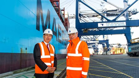 Secretary general of IMO Kitack Lim (left) with Clemence Cheng, Chief executive officer HPUK and Man