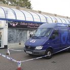 The scene of the armed robbery outside the Halifax branch in The Newlands shopping centre in Witham.