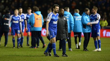 Jonathan Douglas makes his way off the pitch after the defeat to Lincoln