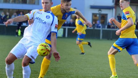 AFC Sudbury entertain Lowestoft Town in an entertaining 1 - 1 draw on Bank Holiday Monday. Jack Wil