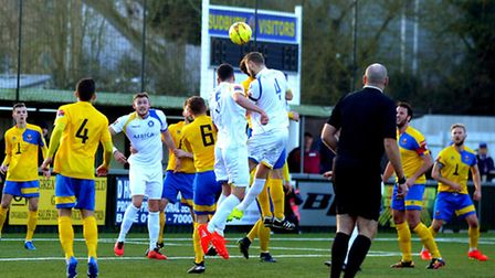 AFC Sudbury entertain Lowestoft Town in an entertaining 1 - 1 draw on Bank Holiday Monday. Ross Jar