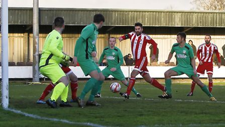 GOAL Rhys Barber scores to opening goal for Felixstowe