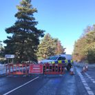 Police have closed part of the B1112 near Weeting following a collision. Picture by Bethany Whymark