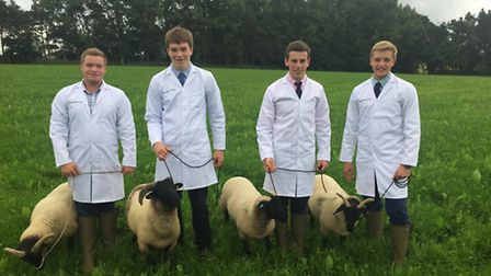 Easton and Otley College students Will Jordan, Louis Stephenson, Will Pratt and James Burman with so