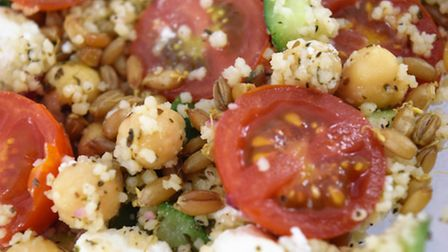 WholeSoft Sprouted in tomato and chickpea salad.