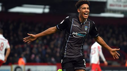 Kurtis Guthrie celebrates scoring from the penalty spot against Stevenage this afternoon