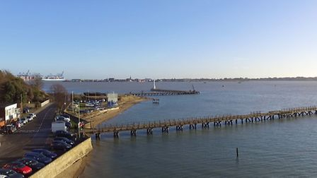 A still from Matt Porter's drone footage of the piers in Shotley