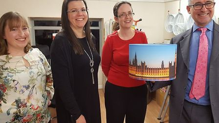 Bernard Jenkin MP receives a bespoke Houses of Parliament lampshade during his visit to The Lampshad